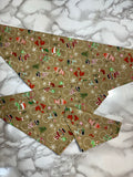 Christmas Dog Bandana. Beige with snowmen, small, medium and large, fits ON the collar!