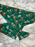 Dog bandana, Christmas Green winter animals, msall, medium, large, fits on the collar!