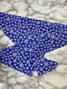 Christmas Dog bandanas. Blue snowflakes, small, medium, large, fits ON the collar!