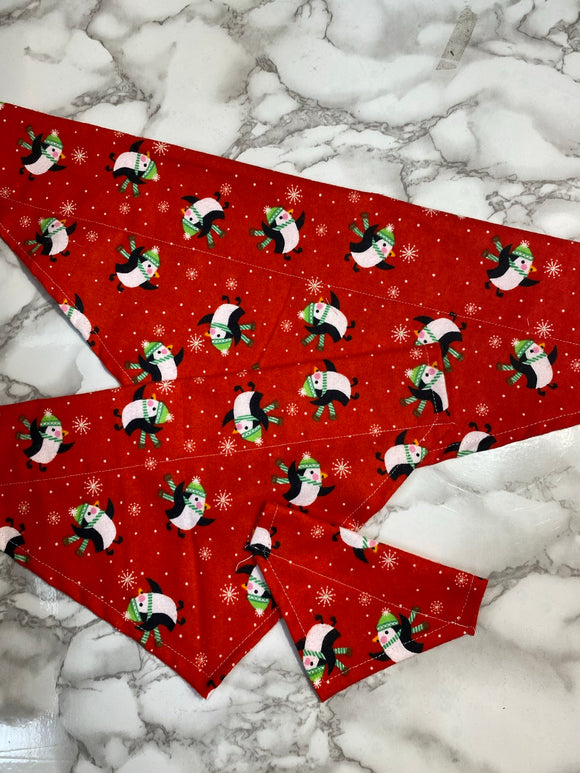 Dog bandana, Christmas, Red with Penguins, small, medium, large, fits on the collar!
