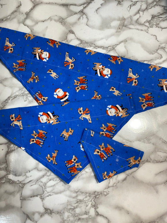 Dog bandanas, Christmas Blue Rudolph, small. medium, large, fits on the collar