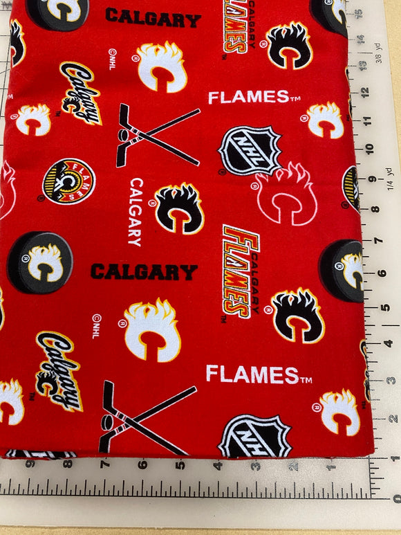 Sports Dog bandanas. Calgary Flames. Small, medium, large, fits ON the collar!