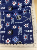 Sports Dog bandanas. Winnipeg Jets. Small, medium, large, fits ON the collar!