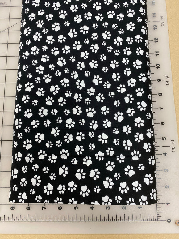 Paws Dog bandanas. Black with white paws. Small, medium, large, fits ON the collar!