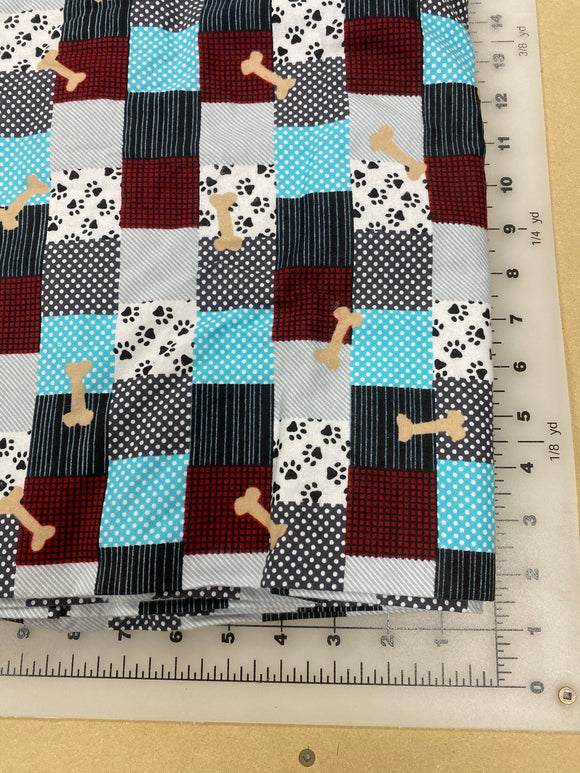 Plaid Dog bandanas. Multi coloured and bones plaid. Small, medium, large, fits ON the collar!