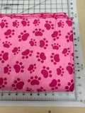 Paws Dog bandanas. Light pink with dark pink paws. Small, medium, large, fits ON the collar!