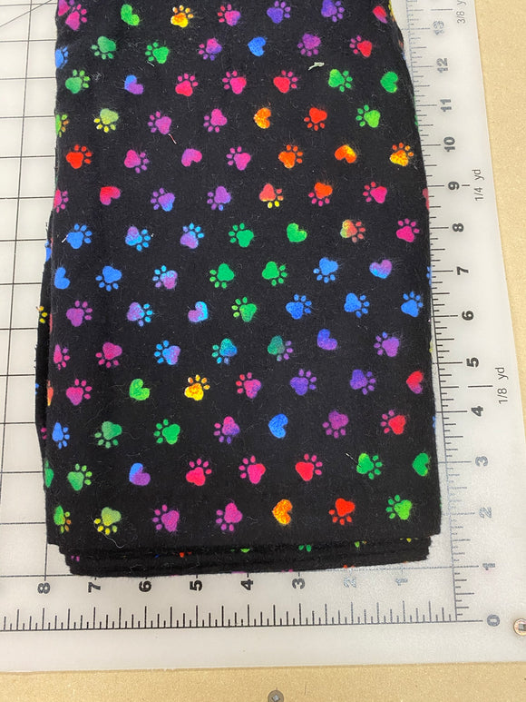 Paws Dog bandanas. Black with multi coloured paws and hearts . Small, medium, large, fits ON the collar!