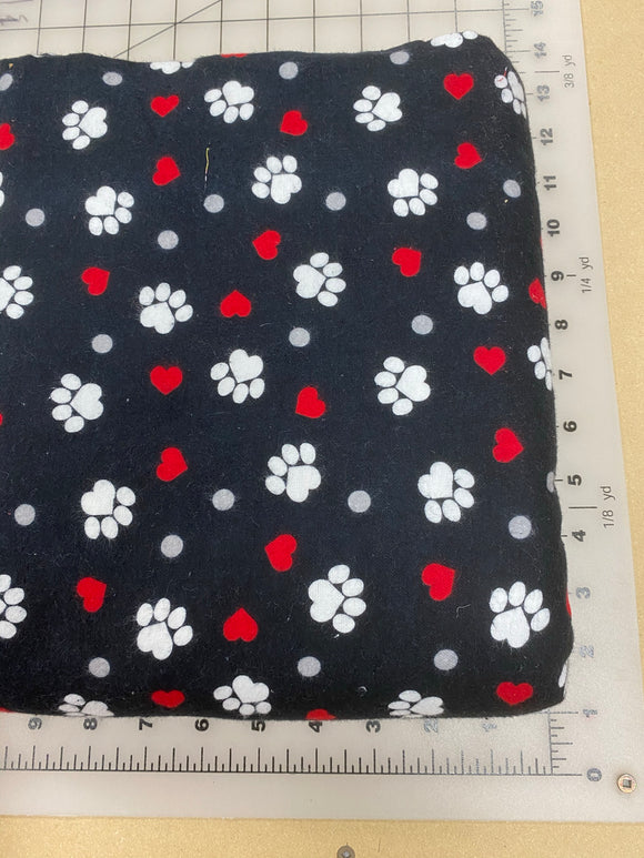 Paws Dog bandanas. Black with white paws and red hearts. Small, medium, large, fits ON the collar!