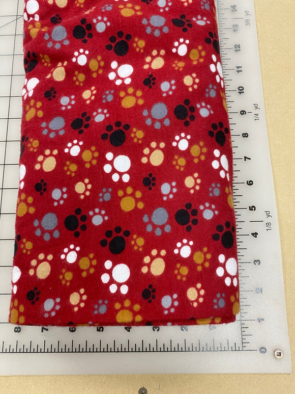 Paws Dog bandanas. Red with brown/grey/white paws. Small, medium, large, fits ON the collar!