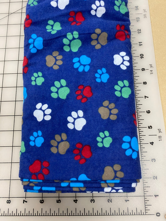 Paws Dog bandanas. Blue with white/red/green/yellow paws. Small, medium, large, fits ON the collar!