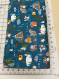 Animals Dog bandanas. Camping friends on blue, small, medium, large, fits ON the collar!