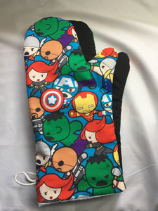 Oven mitts, Avengers! Cartoon print- A pair of Fully Functional long Oven Gloves!