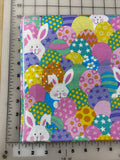 Easter. Dog Bandana. Glitter bunny and eggs. S/M/L, fits ON the collar! (fabric contains glitter that is embedded in the fabric)