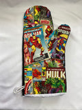 Oven mitts, pop culture Avengers comic book! A pair of Fully Functional long Oven Gloves. Adult size!
