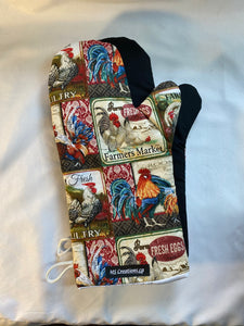 Animals. Chickens. Oven mitts. A pair of Fully Functional long Oven Gloves. Adult size!