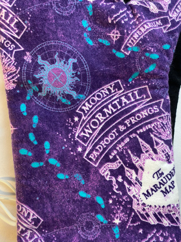 Pop Culture Dog bandanas. HP marauders map purple. Small, medium, large, fits ON the collar!