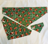 Dog bandanas! Small, medium and large football dog bandanas! It fits on the collar!