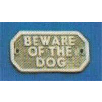 BEWARE OF THE DOG Sign 100x48mm  P.B./C.P.