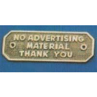 NO ADVERTISING MATERIAL THANK YOU Sign 155x50mmc  P.B./C.P.