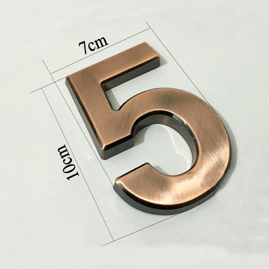 Plastic Golden Number Plate for House Address etc (3D waterproof with self adhesive)
