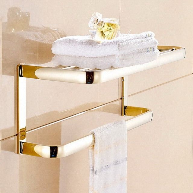 Gold Polished Brass Square Bathroom Set