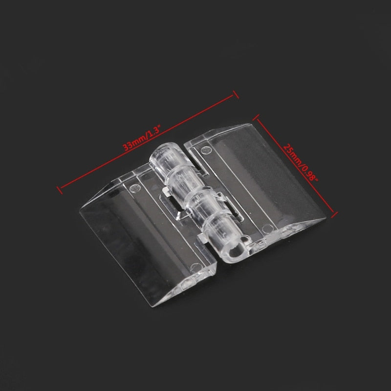 10Pcs Transparent Plastic Folding Hinges