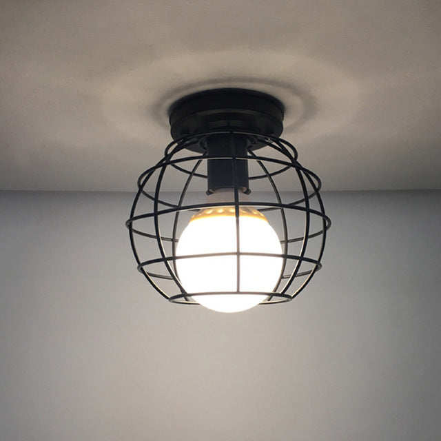 Vintage Black Iron Ceiling Cage Lamp
