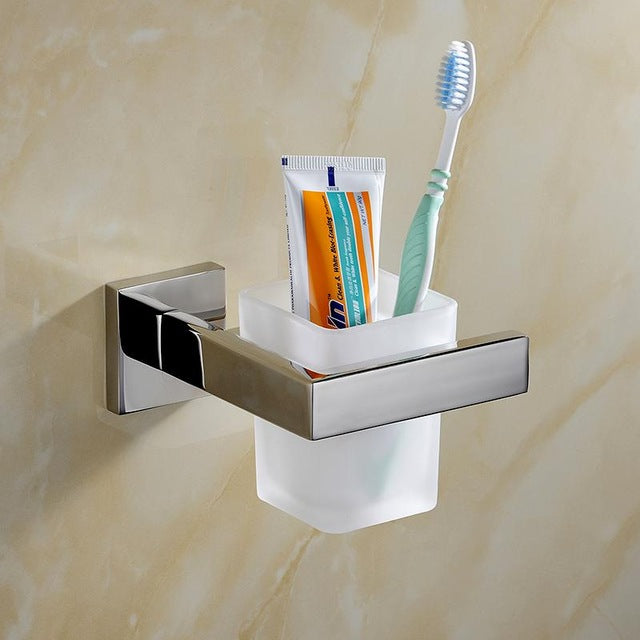 Stainless Steel Silver Polish Bathroom Hardware Set