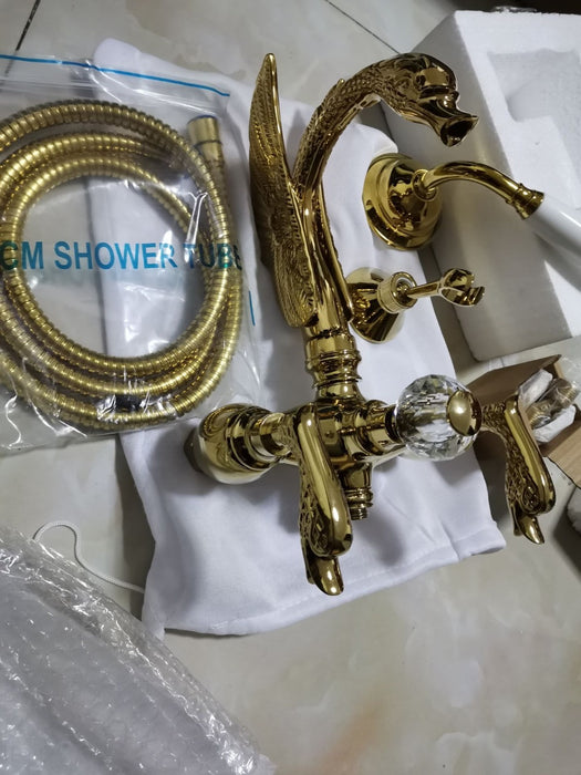 Gold Swan Shower Set