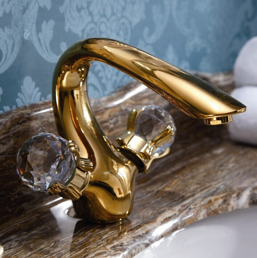 Swan Faucet with Crystal handles (PVD finish)