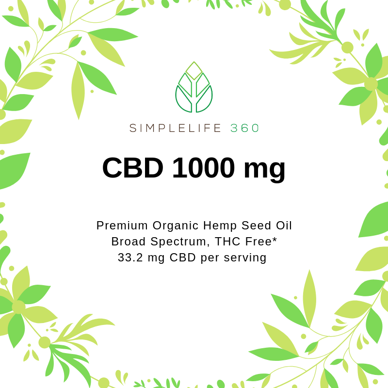 CBD BROAD SPECTRUM 1000 MG 1 OZ (30ML) - PREMIUM GRADE ORGANIC HEMP OIL - THC FREE* - SimpleLife360