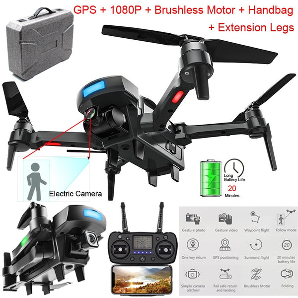 CG033-S Drone GPS 2.4G WiFi FPV RTF Selfie Drone with 1080P HD Camera Foldable Brushless Professional Drone RC Quadcopter