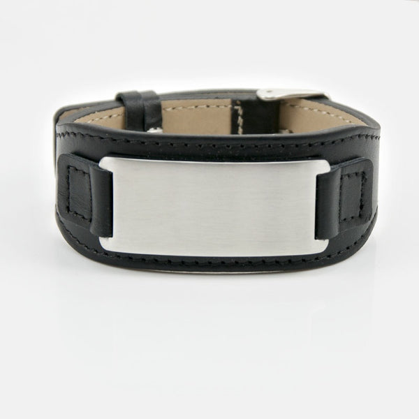 Stainless Steel Leather Bracelet for Men