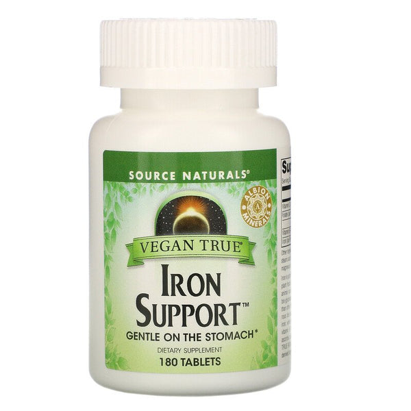 Source Naturals, Vegan True, Iron Support, 180 Tablets (Vegan)