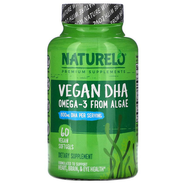NATURELO, Vegan DHA, Omega-3 from Algae, 800 mg, 60 Vegan Softgels (Vegan)