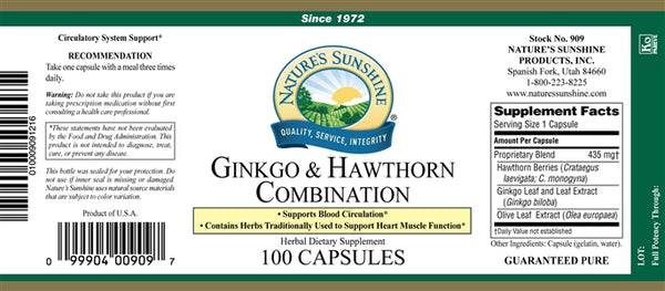 Ginkgo & Hawthorn Combination (100 Caps)