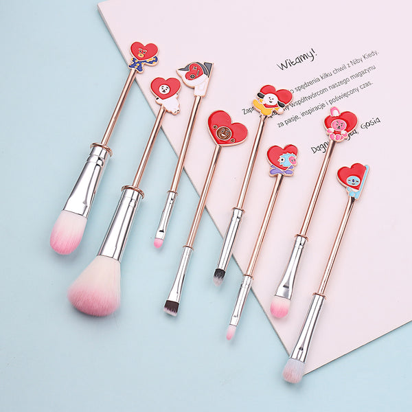 BT21 X 8PCS Heart Makeup Brushes - BT21 Store | BTS Online Shop