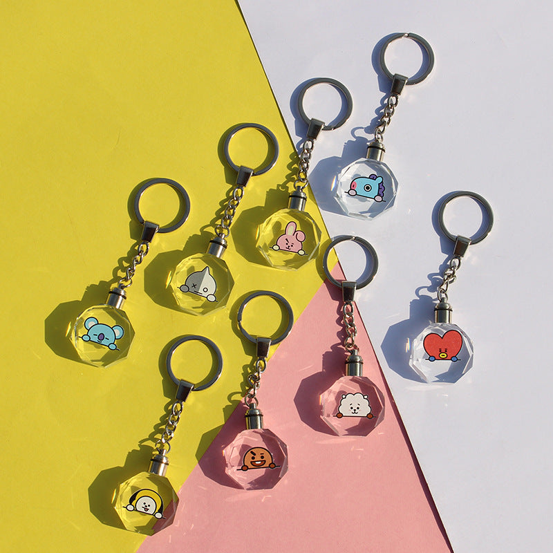 BT21 X Crystal Night LED Lighting up Keychain - BT21 Store | BTS Online Shop