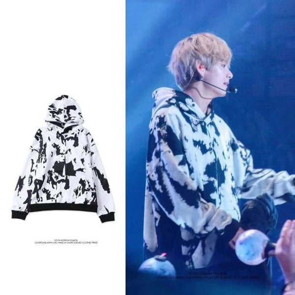 BTS V Black and White Block Hoodie - BT21 Store | BTS Online Shop