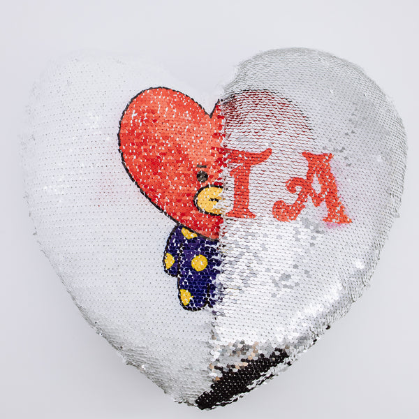 BT21 X Heart Sequins Pillow - BT21 Store | BTS Online Shop
