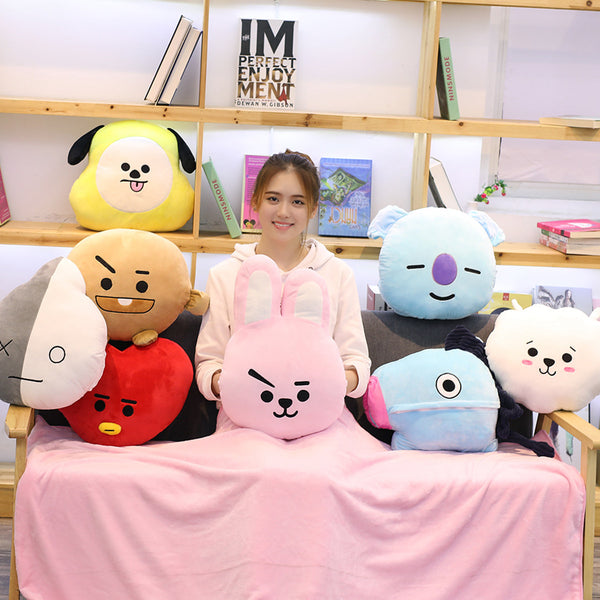 BT21 X Multi-function Hand Warmer Pillow Blanket