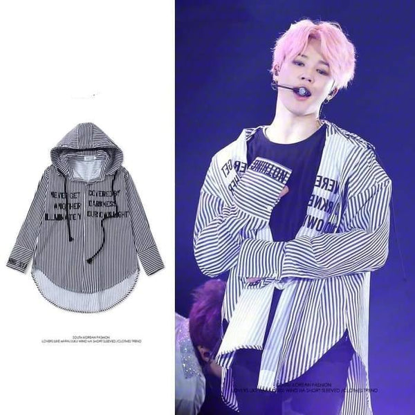 BTS Jimin Stripe Hooded Shirt - BT21 Store | BTS Online Shop
