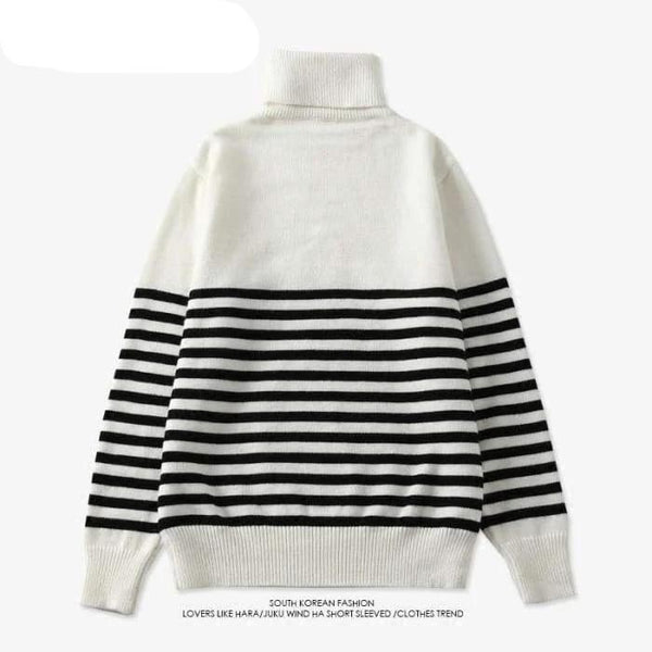 BTS Jungkook Stripe B&W Sweater - BT21 Store | BTS Shop