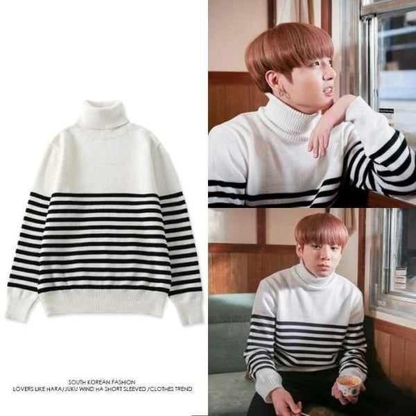 BTS Jungkook Stripe B&W Sweater - BT21 Store | BTS Online Shop