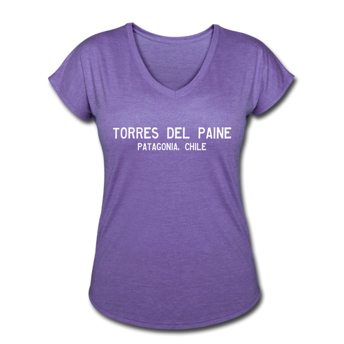 Great Trails - Torres del Paine  - Women's Tri-Blend V-Neck T-Shirt - purple heather