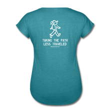 Load image into Gallery viewer, Great Trails - Snowman Trek - Women's Tri-Blend V-Neck T-Shirt - heather turquoise
