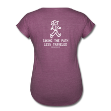 Load image into Gallery viewer, Great Trails - Snowman Trek - Women's Tri-Blend V-Neck T-Shirt - heather plum