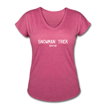 Load image into Gallery viewer, Great Trails - Snowman Trek - Women's Tri-Blend V-Neck T-Shirt - heather raspberry