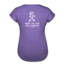 Load image into Gallery viewer, Great Trails - Snowman Trek - Women's Tri-Blend V-Neck T-Shirt - purple heather