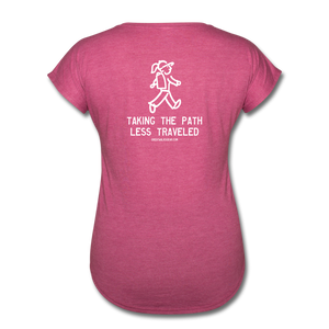 Great Trails - Chilkoot Trail - Women's Tri-Blend V-Neck T-Shirt - heather raspberry